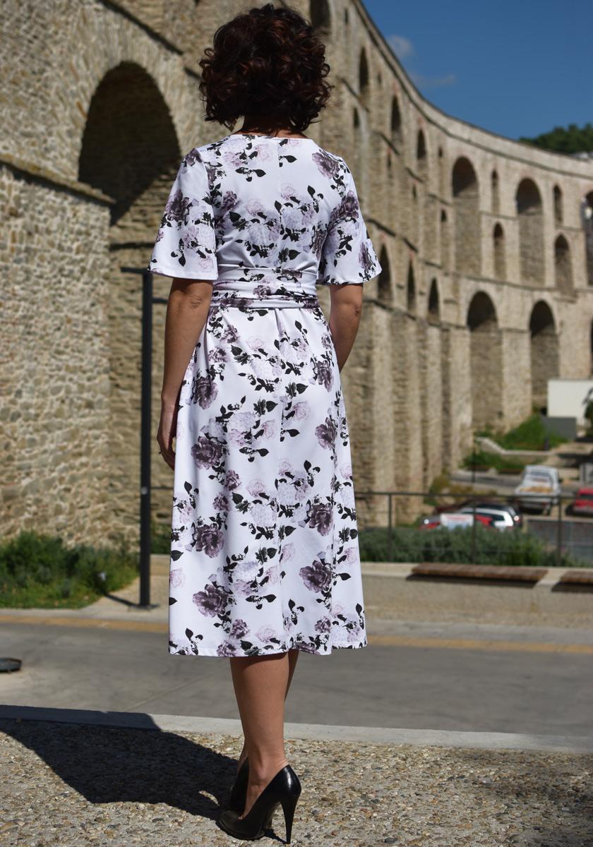 WHITE FLORAL PRINT KIMONO DRESS