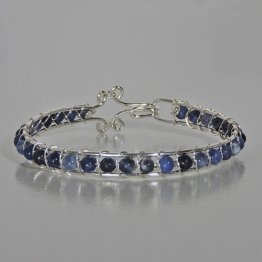 Silver and Blue Gemstone Thin Bracelet