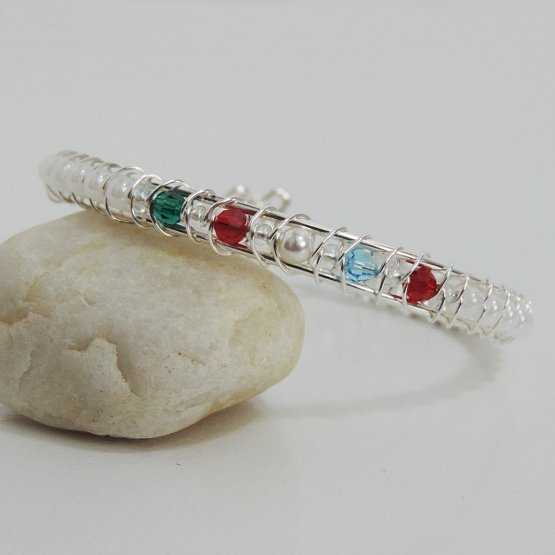 Sterling silver bracelet with birthstone beads