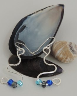 Argentium Silver and Blue Bead Earrings