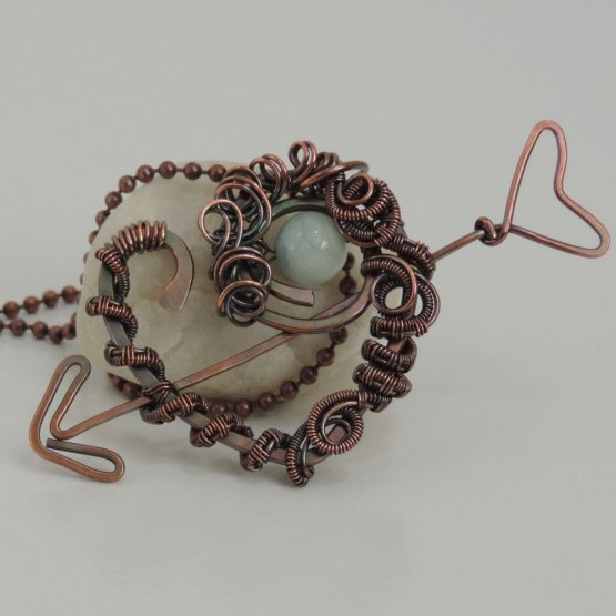 Woven Copper Heart Pendant with Arrow