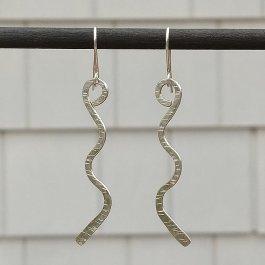 Argentium Silver textured zig zag earrings