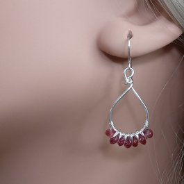 Garnet and Silver Earrings