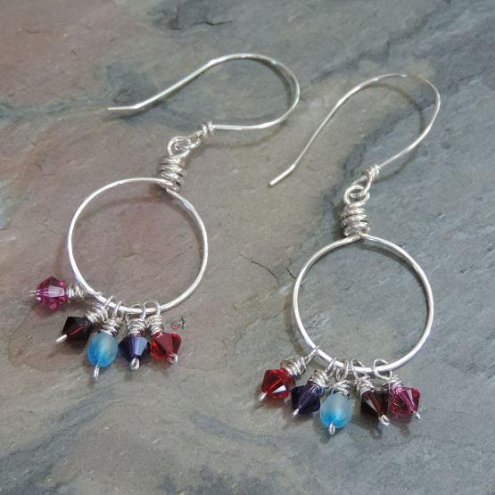 Silver Earrings with Multi-colored Crystal Beads