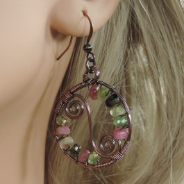 Copper and tourmaline earring
