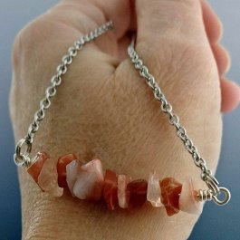 Image of orange agate bar necklace