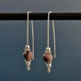 Rhodonite and Silver Earrings