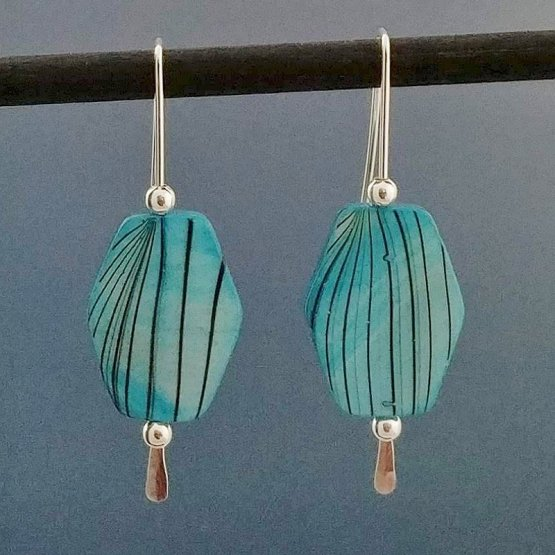 Silver threader earrings with mother of pearl beads