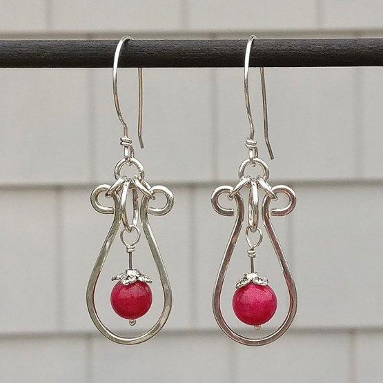 Ruby and Silver Earrings