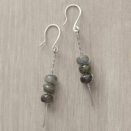 Labradorite Earrings with 3 beads