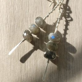 Labradorite Earrings showing flash