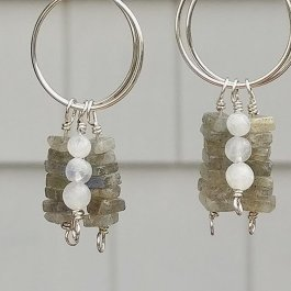 Labradorite and Moonstone Dangle Earrings on silver Hoops