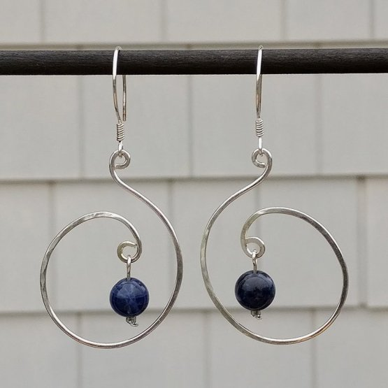 Lapis beads in Silver Spiral Earrings