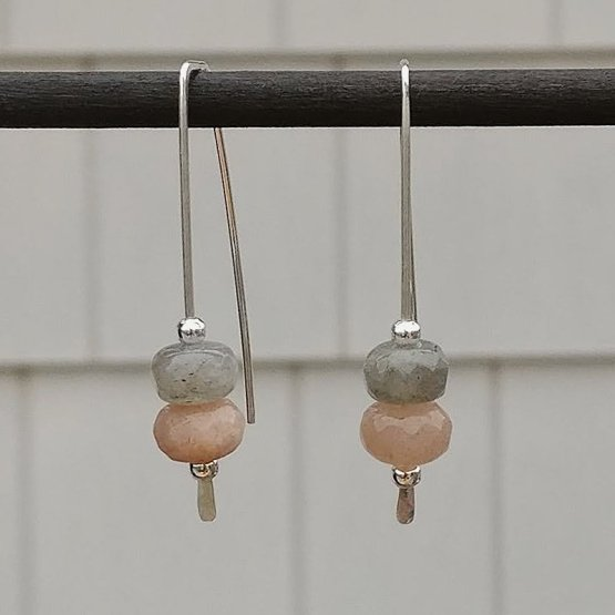 Labradorite and Sunstone Silver Threader Earrings