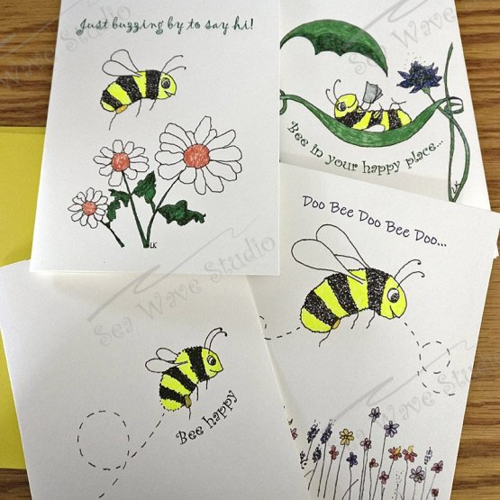 Set of Bee note cards