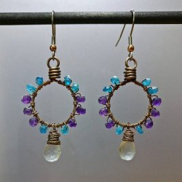 Apatite Amethyst and Quartz Earrings