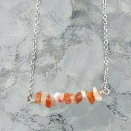 Orange and white agate chip bar necklace