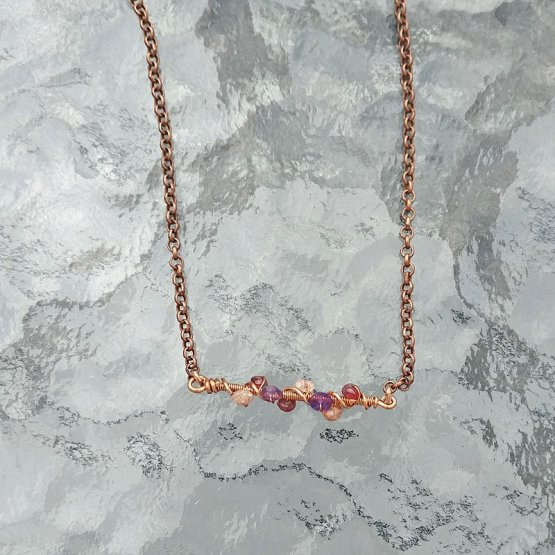 Image of copper coiled gemstone bar necklace