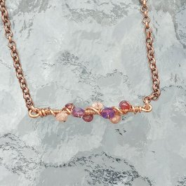 Copper and gemstone bar necklace