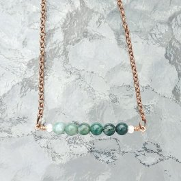 Moss Agate Bar Necklace with copper chain