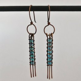 image of blue seed bead snake weave earrings straight ends