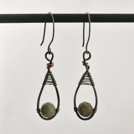 image of Labradorite Teardrop Earrings in copper