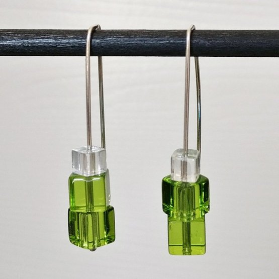 image of green and crystal cube earrings