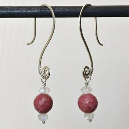 Image of Rhodonite and Moonstone earrings