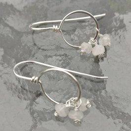 image of Argentium silver threader hoop earrings with Rainbow Moonstone beads