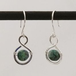 image of silver figure 8 earrings with Azurite beads