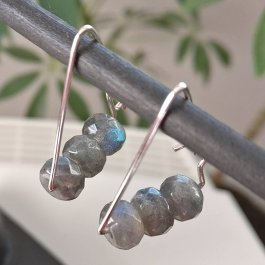 image of triangle shaped silver earrings with Labradorite beads