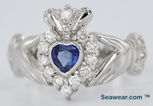 Claddagh Diamond Engagement Ring