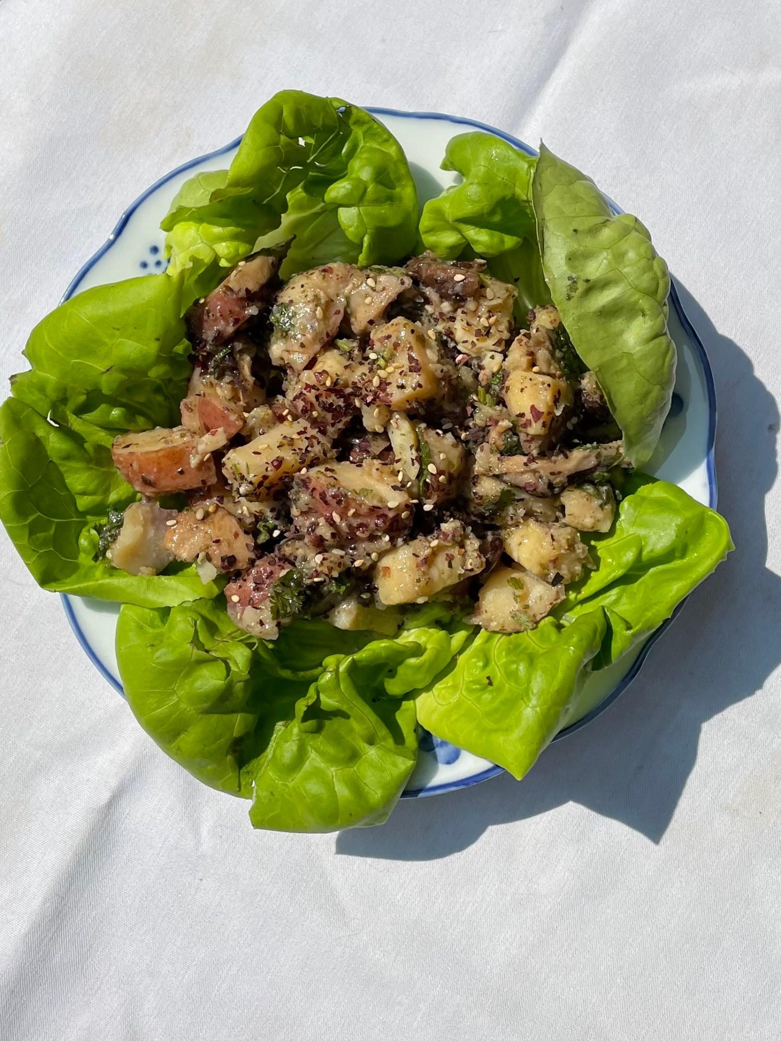 shitake potato salad dish