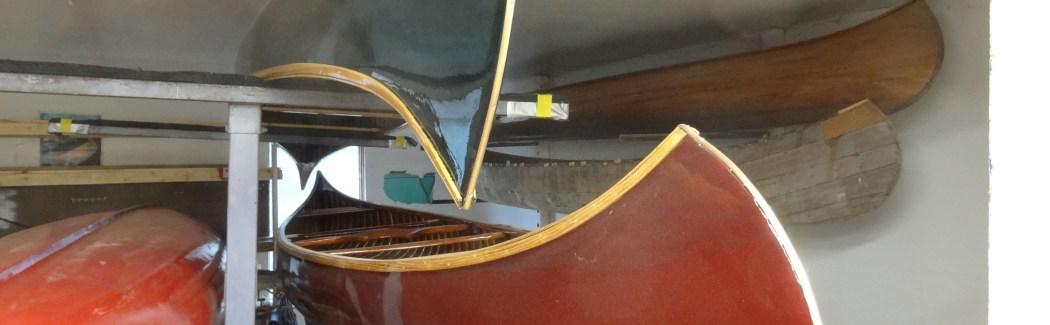 War canoe restoration, visit to the boat shop. photo courtesty Jim Luton
