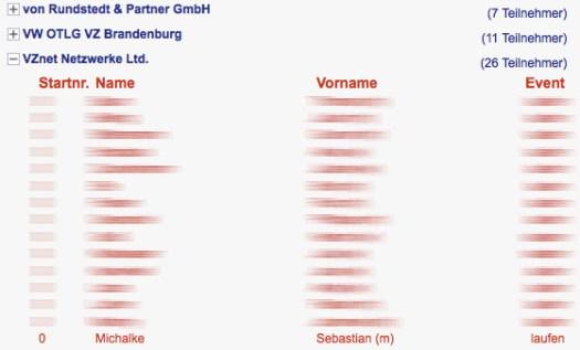 Teilnehmerliste Firmenlauf 2011