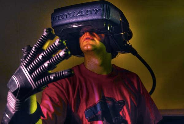 Virtuality exoskeleton gloves and VR headset.