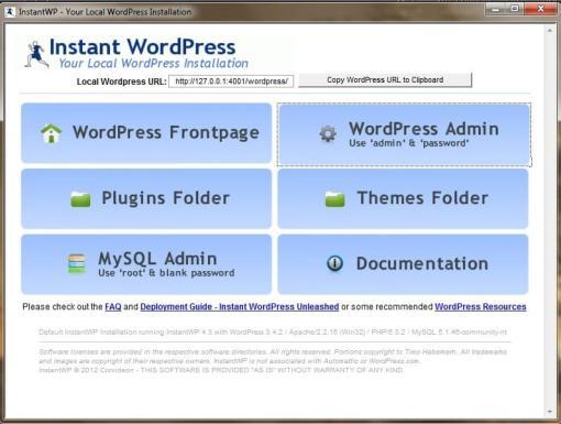 Creer un site Web localement - L'interface de InstantWP