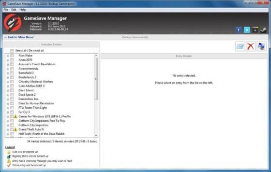 Gérez vos sauvegardes de Jeux PC GameSave Manager Backup