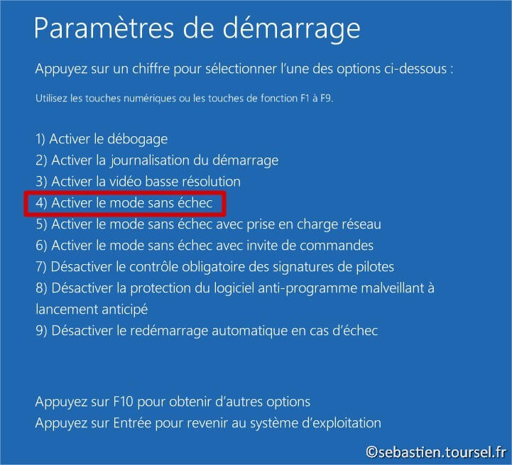 Tentatives de réparation Windows 8.1 Activer mode sans echec
