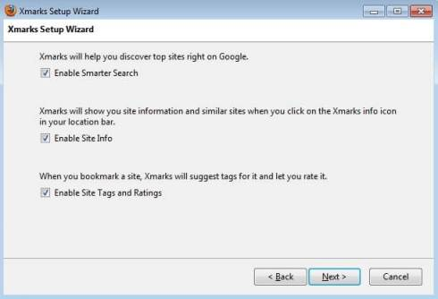 Xmarks-Activation-SmarterSearch-SiteInfo synchroniser favoris