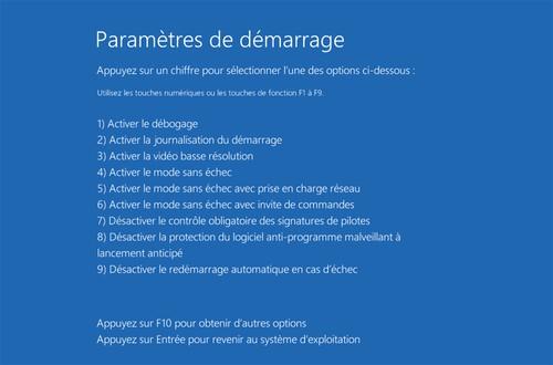 mode sans echec windows 8 - Parametres de demarrage
