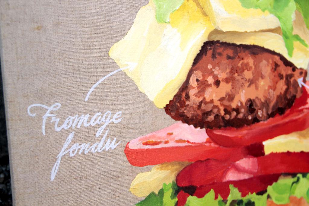 Zoom sur toile acrylique sur lin brut - 130 x 35 cm