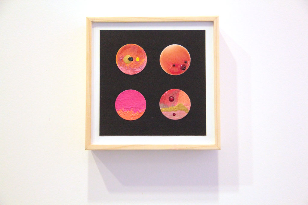 Ronds Oranges sur papiers et Art Panel 12 x 12 cm