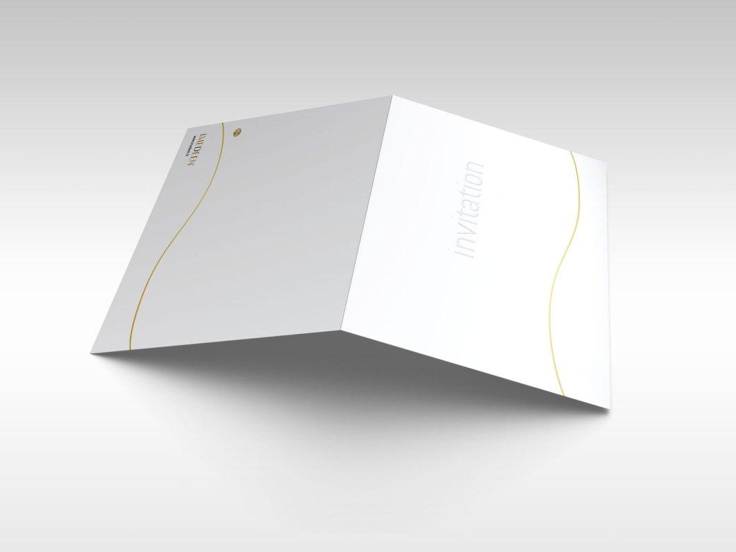 Invitation pour le lancement de la marque Imedeen carte d'invitation extérieur