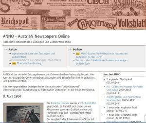 ANNO - AustriaN Newspapers Online