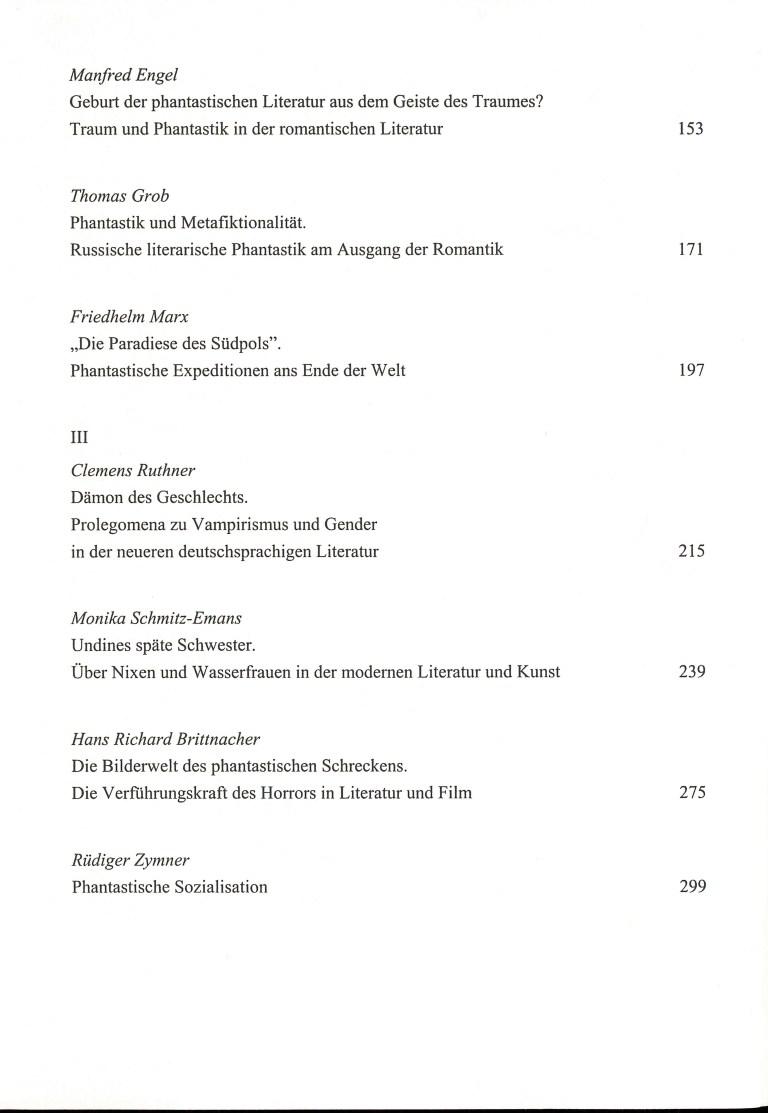 Phantastik-Kult oder Kultur? - Inhalt Seite 1