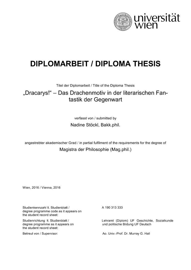 Das Drachenmotiv in der literarischen Fantastik der Gegenwart - Titelcover