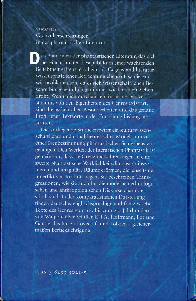 Grenzüberschreitungen i.d.phant. Literatur - Rückencover