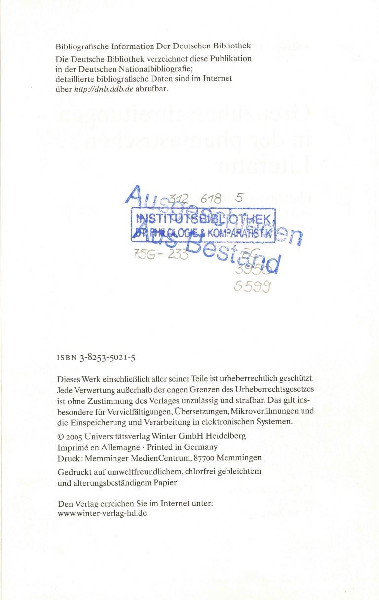 Grenzüberschreitungen i.d.phant. Literatur - Impressum