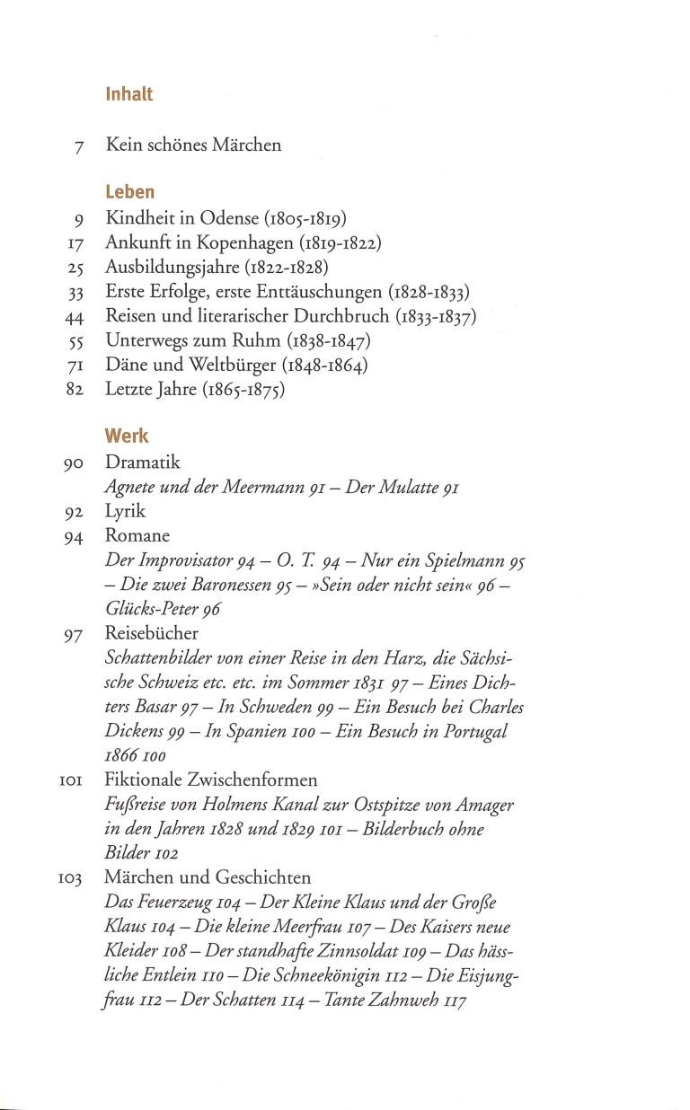 Hans Christian Andersen - Inhalt Seite 1